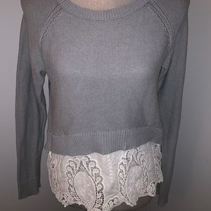 American Eagle Sweater Grey & Lace